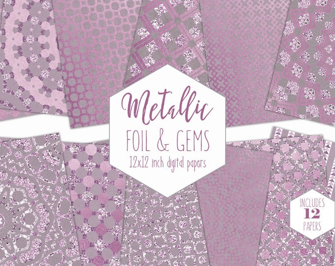 PINK & SILVER FOIL Digital Paper Pack Wedding Backgrounds Mauve Metallic Scrapbook Paper Gem Pattern Party Printable Commercial Use Clipart
