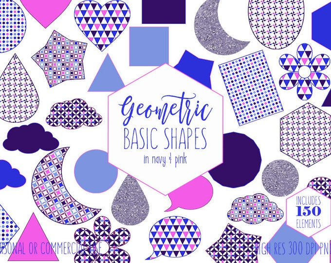 MOON STAR CLOUD Shapes Clipart for Commercial Use Planner Sticker Clip Art Navy Blue Pink Circles Flowers Triangles Hearts Digital Graphics