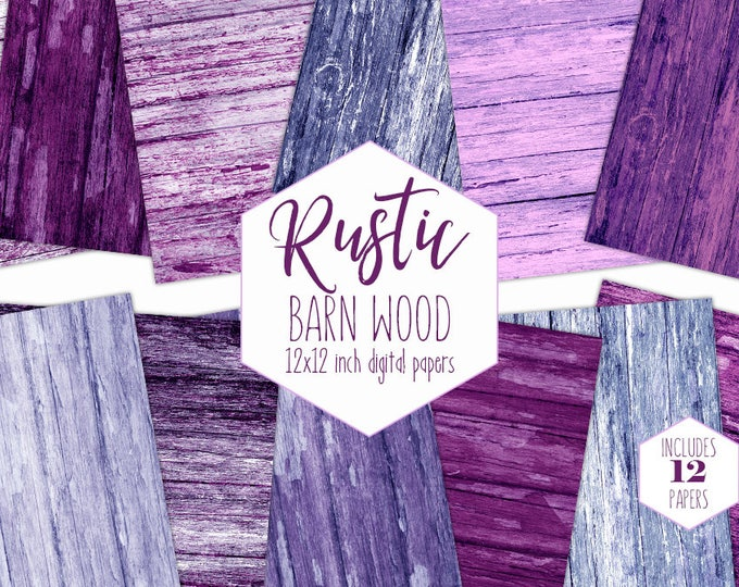 PURPLE WOOD Digital Paper Pack Rustic Painted Wood Backgrounds Wooden Scrapbook Papers Wood Grain Textures Printable Wood Images Clipart