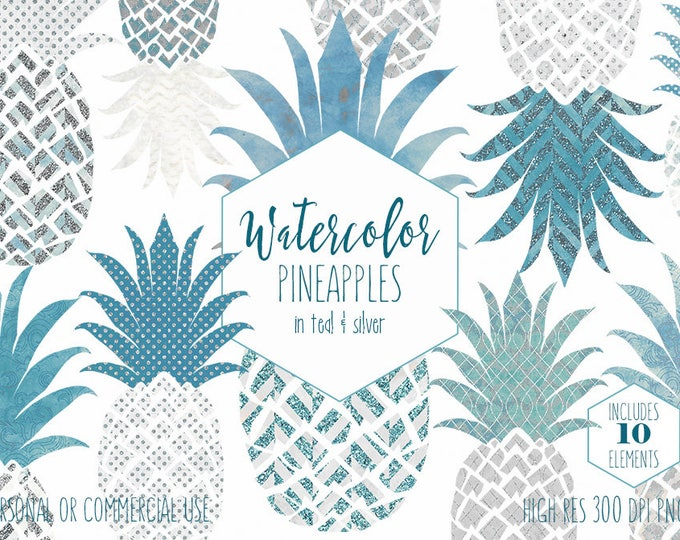 SILVER & TEAL PINEAPPLE Clipart Commercial Use Clip Art Fun Tropical Clipart with Metallic Glitter Watercolour Pineapple Planner Graphics