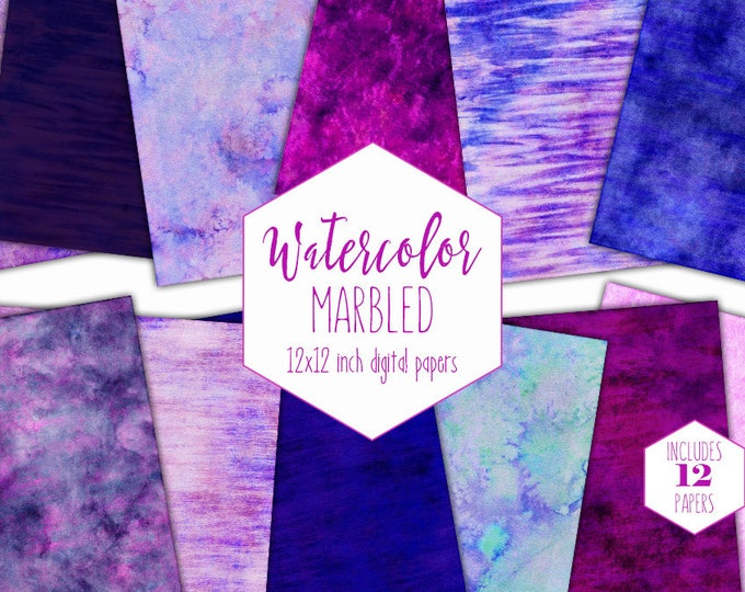 BLUE WATERCOLOR MARBLE Digital Paper Pack Commercial Use Pink Backgrounds Purple Striped Scrapbook Papers Marbled Watercolour Wash Textures