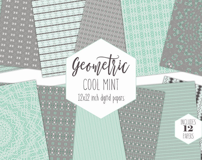 GRAY & MINT Digital Paper Pack Tribal Backgrounds Arrow Scrapbook Paper Aztec Stripe Patterns mandala Party Printable Commercial Use Clipart