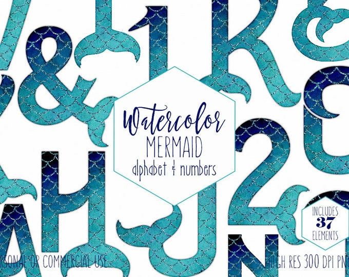 WATERCOLOR MERMAID TAIL Alphabet Clipart Ocean Girls Birthday Monogram Clip Art for Commercial Use Teal Blue Scale Digital Letters & Numbers
