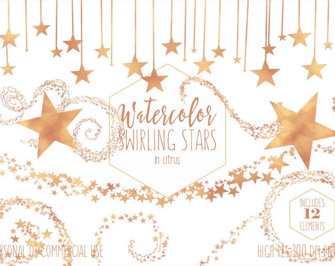 ORANGE STAR CLIPART Commercial Use Clip Art Yellow & Orange Star Trails Swirls Celestial Sky Baby Shower Clipart Stars Night Sky Graphics