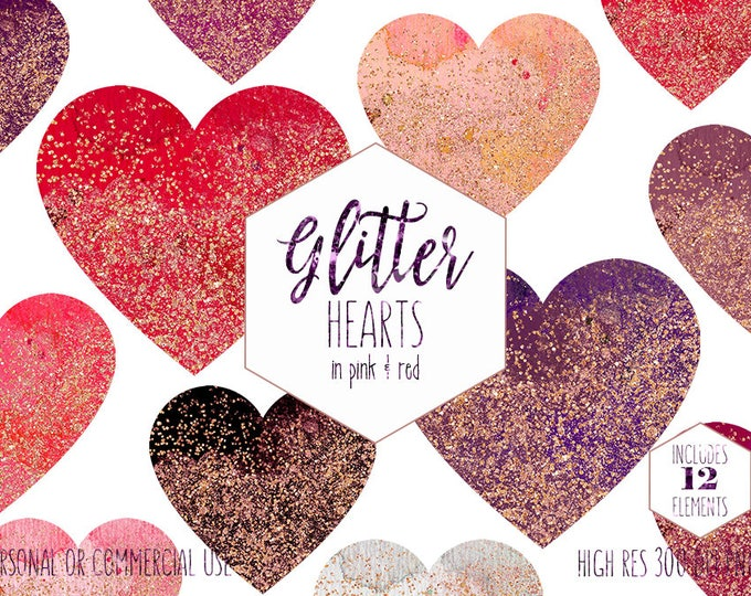 ROSE GOLD & PINK Hearts Clipart for Commercial Use Clip Art Red Watercolor Heart Shapes Metallic Glitter Confetti Valentine's Day Graphics