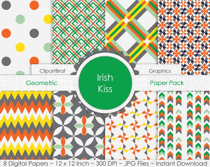 Irish Kiss KELLY GREEN Digital Paper Pack Commercial Use Digital Background Paper St. Patrick's Day Arrow Dots Chevron Plaid Digital Clipart
