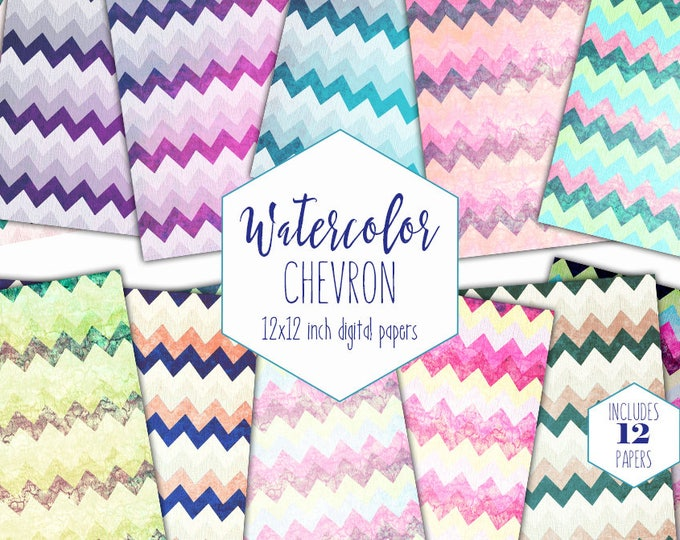 OMBRE RAINBOW CHEVRON Digital Paper Pack Commercial Use Watercolor Backgrounds Geometric Scrapbook Papers Birthday Party Patterns Clipart