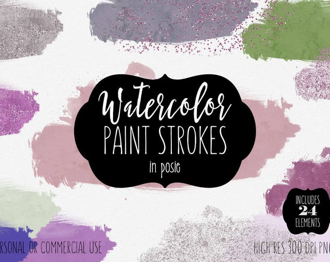 PURPLE & MINT WATERCOLOR Brush Strokes Clipart Commercial Use Clip Art 24 Paint Splash Pink Confetti Watercolor Texture Logo Header Graphics