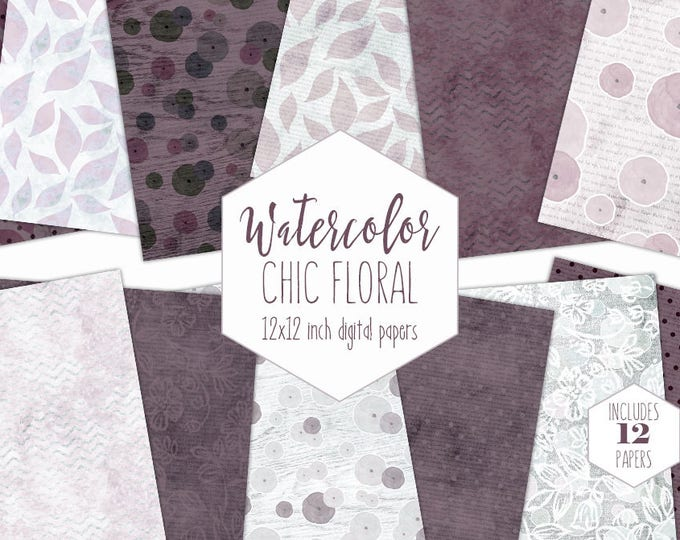 WINE WATERCOLOR FLORAL Digital Paper Pack Commercial Use Chic Backgrounds Burgundy & Blush Wood Scrapbook Papers Shabby Chic Lace Patterns