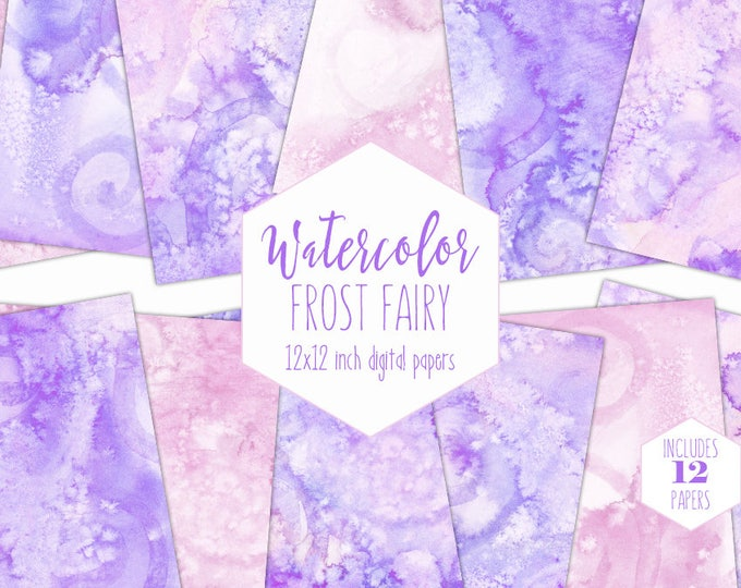 PINK & PURPLE WATERCOLOR Digital Paper Pack Commercial Use Backgrounds Lavender Scrapbook Papers Watercolour Textures Girl Birthday Clipart