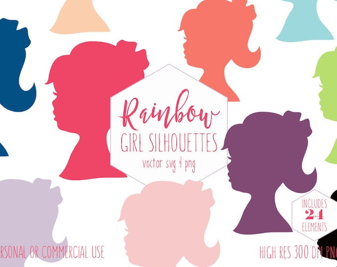 LITTLE GIRL FACE Clipart for Commercial Use Cute Child Clip Art Girls Head Ponytail Silhouette Rainbow Colors Digital Graphics Vector Svg