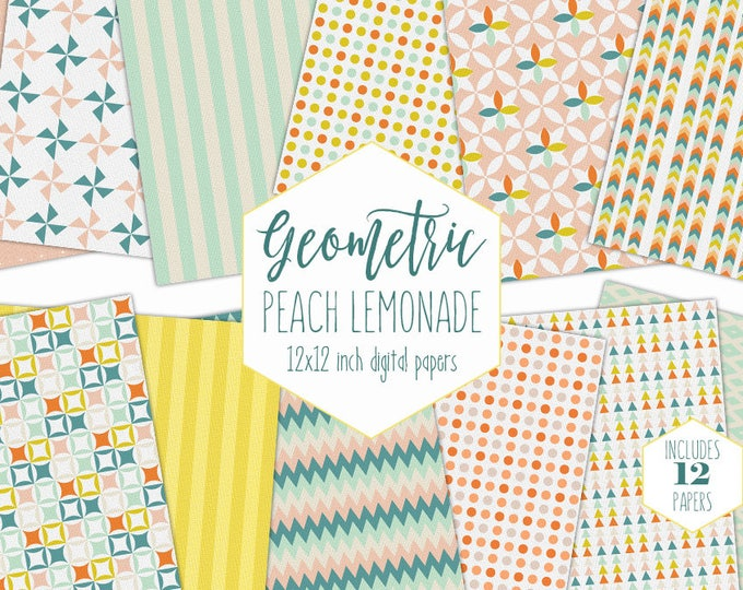 PEACH & MINT Digital Paper Pack Summer Backgrounds Yellow Stripe Scrapbook Paper Plaid Geometric Dot Patterns Garden Party Printable Clipart