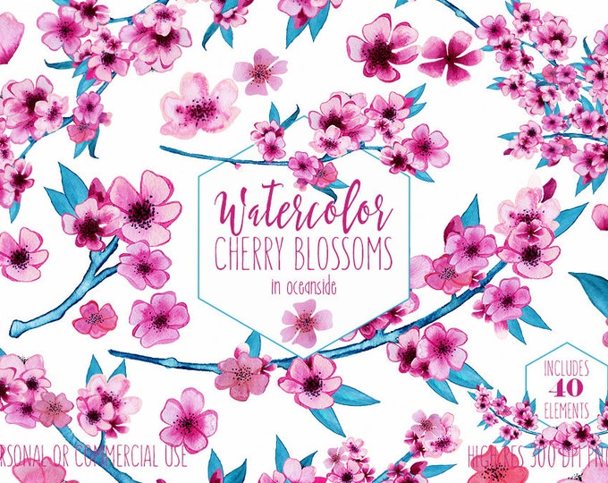 WATERCOLOR CHERRY BLOSSOMS Clipart Commercial Use Clip Art Pink Wedding Flowers Petals Spring Flower Bouquets Sakura Floral Wreath Graphics