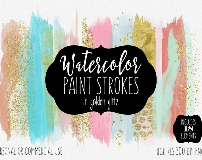 GOLD & WATERCOLOR BRUSH Strokes Clipart Commercial Use Clip Art Paint Strokes Diy Shop Banners Peach Blush Mint Gold Confetti Logo Graphics