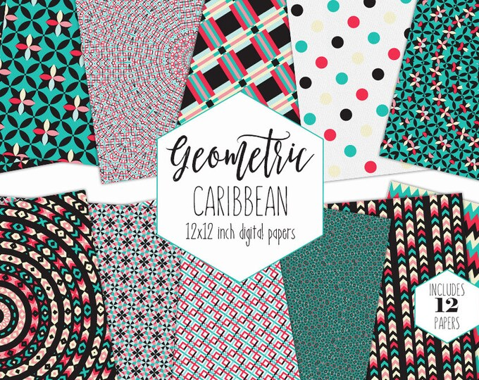 BLACK & TEAL Digital Paper Pack Bohemian Backgrounds Arrow Plaid Dot Scrapbook Papers Boho Tribal Patterns Party Printable Coral Clipart