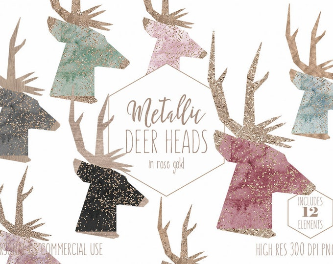 ROSE GOLD REINDEER Clipart Commercial Use Clip Art Watercolor Deer Head Holiday Images Metallic Confetti Antlers Christmas Digital Graphics