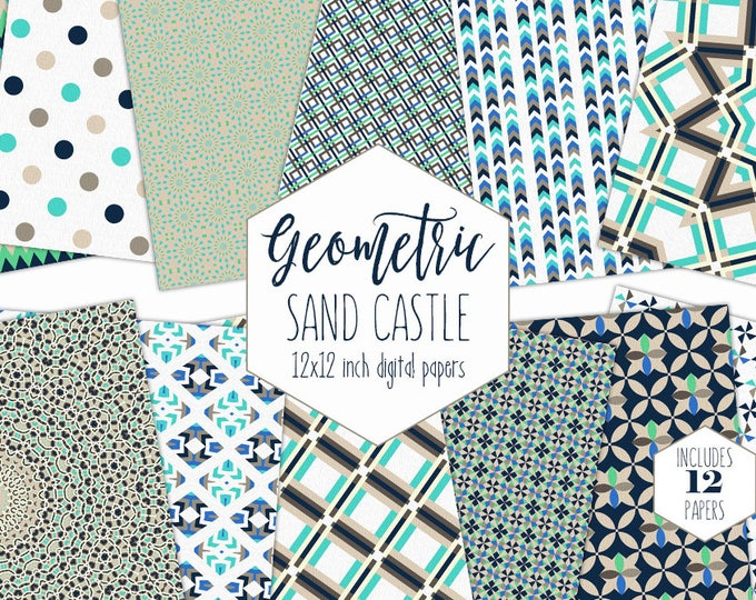 GEOMETRIC BEACH Digital Paper Pack Tan Aqua & Navy Blue Backgrounds Plaid Arrow Scrapbook Papers Tribal Patterns Party Printable Boy Clipart
