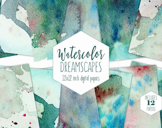 TEAL WATERCOLOR SPLATTER Digital Paper Pack Commercial Use Backgrounds Aqua Blue Mint Green Scrapbook Papers Real Watercolour Wash Textures
