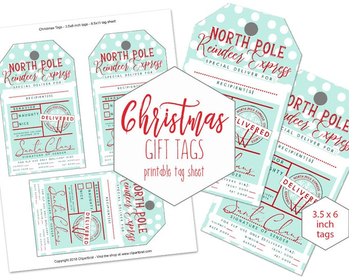 Printable Christmas GIFT TAG Sheet for Kids Large From Santa Claus North Pole Reindeer Express Naughty or Nice DIY Holiday Hang Tag Mint Dot