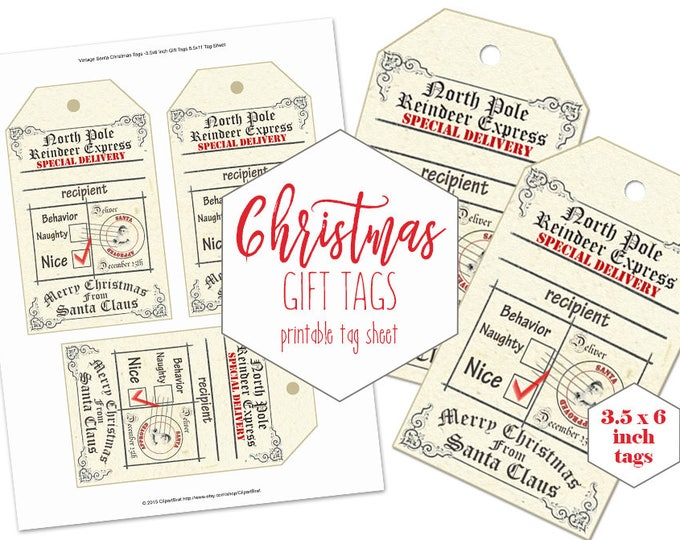 CHRISTMAS TAGS PRINTABLE Large Digital Vintage Authentic From Santa Claus Tag Sheet Naughty or Nice Holiday Gift Tags Diy Christmas Labels