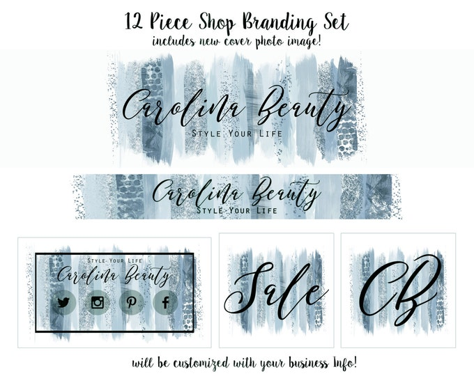 WATERCOLOR BRUSH STROKES Branding Package Cover Photo Premade Etsy Shop Set Banner Logo Business Card Blue Chic Paint Strokes Shop Set