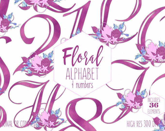 MAGENTA PINK FLORAL Alphabet Clipart for Commercial Use Baby Girl Monogram Clip Art Violet Foil Letters & Numbers Flower Digital Graphics