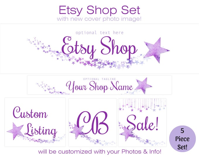 ETSY SHOP SET - Choose Your Font - Cover Photo, Banner, Icon Violet Purple Watercolor Stars Business Branding Baby Boutique Photography