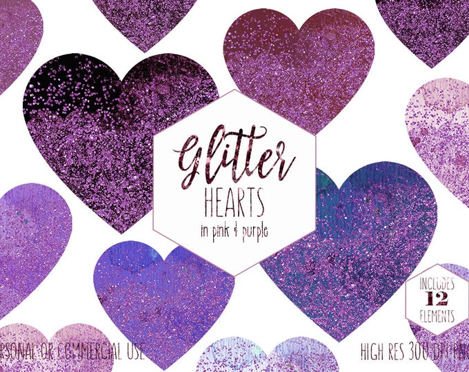 PURPLE WATERCOLOR HEARTS Clipart for Commercial Use Clip Art Confetti Metallic Glitter Heart Shapes Pink Valentine Wedding Digital Graphics