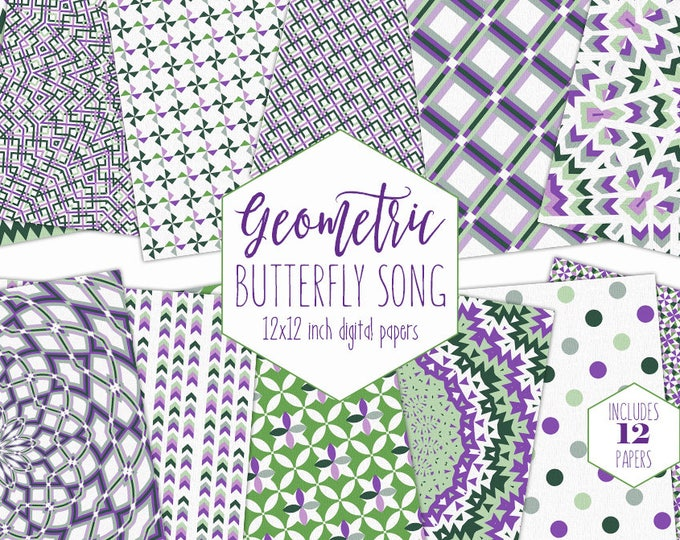GREEN & PURPLE Digital Paper Pack Mandala Backgrounds Geometric Scrapbook Papers Plaid Dot Arrow Chevron Patterns Party Printable Clipart
