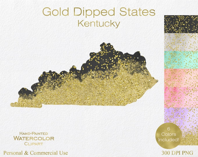 WATERCOLOR & GOLD KENTUCKY Clipart Commercial Use Clipart United States Shape Wedding Clipart Gold Confetti Dust Kentucky State Clip Art