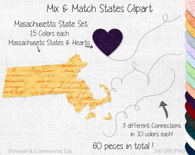 STATES Apart STATE to State Clipart Wedding Clipart Commercial Use Clipart Mix & Match Home State Massachusetts Clipart Valentine's Day