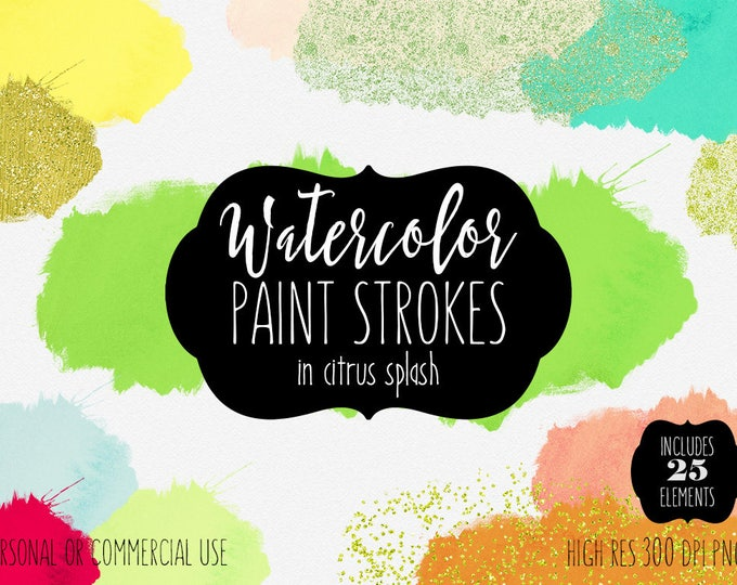 CITRUS WATERCOLOR BRUSH Strokes Clipart Commercial Use Clip Art Watercolor Paint Splash Lime Lemon Mint Gold Confetti Texture Logo Graphics