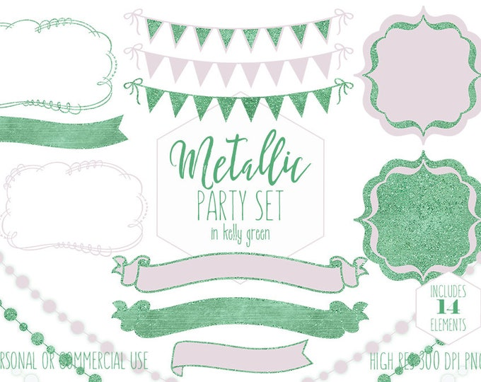 PINK & GREEN PARTY Clipart for Commercial Use Clip Art St Patricks Day Buntings Frame Fairy Lights Baby Shower Invitation Digital Graphics