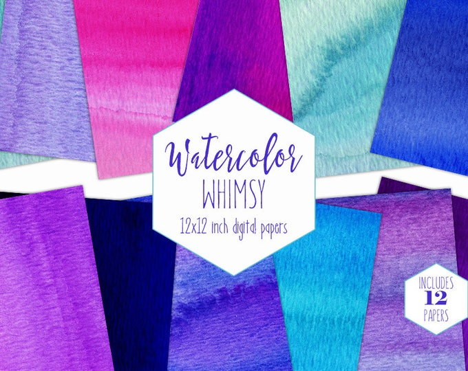 WATERCOLOR WASH Digital Paper Pack Commercial Use Aqua Purple & Blue Watercolor Backgrounds Watercolour Textures Rainbow Birthday Clipart