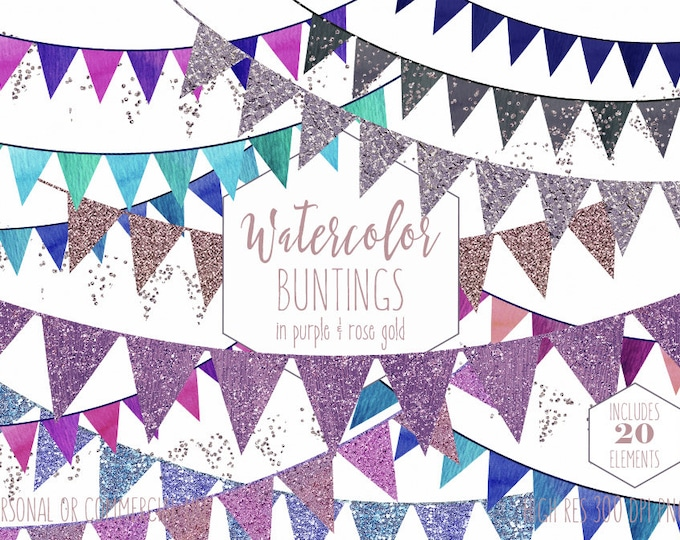 PURPLE BUNTING BANNER Clipart Commercial Use Clip Art Triangle Flag Pennant Buntings Silver Confetti Cute Birthday Party Invitation Graphics