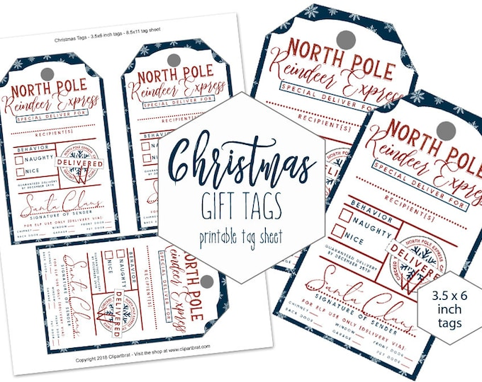 FROM SANTA Claus Christmas Gift Tags Printable Navy Blue Snowflakes DIY Naughty or Nice Holiday Reindeer Express Special Delivery for Kids