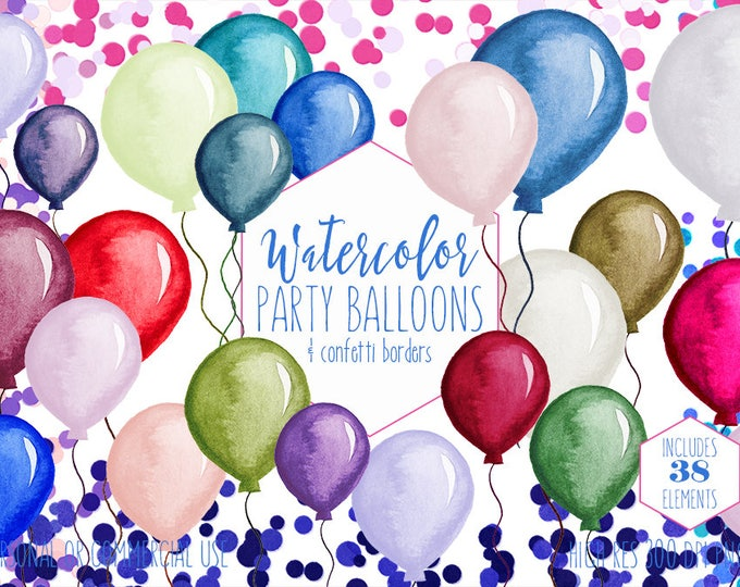 PARTY BALLOONS & CONFETTI Clipart Commercial Use Clip Art Confetti Borders 34 Watercolour Balloon Graphics Birthday Party Invitation Clipart