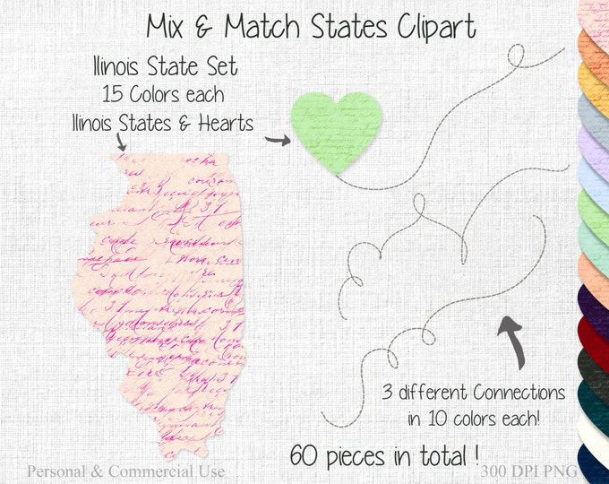 ILLINOIS STATE to STATE Clipart Commercial Use Clipart Mix & Match Home State Wedding Clipart Illinois Heart Map United State Shapes Clipart