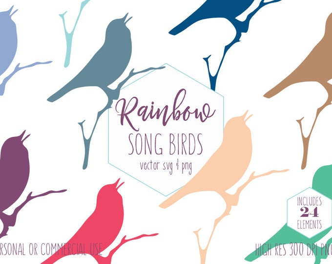 SONG BIRD CLIPART for Commercial Use Sticker Clip Art Perched Singing Bird Silhouette Shape Rainbow Colors Vector Digital Graphics Bird Svg