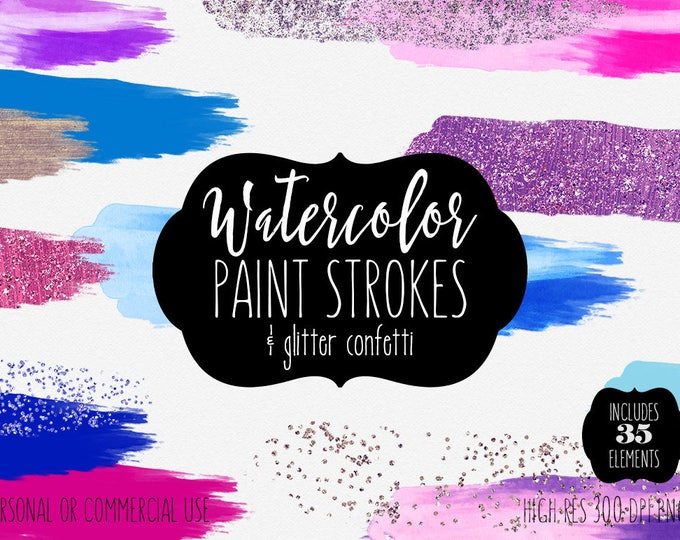 PINK & BLUE WATERCOLOR Glitter Confetti Paint Strokes Clipart Commercial Use Clip Art 35 Watercolor Brush Strokes Textures Logo Clip Art