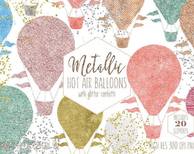 HOT AIR BALLOON Clipart for Commercial Use Clip Art Metallic Balloon Images with Confetti Rose Gold Peach Blush Baby Shower Digital Graphics