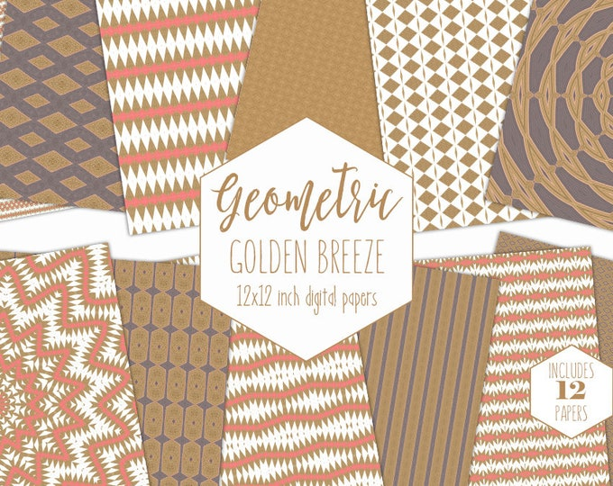 PINK & GOLD GEOMETRIC Digital Paper Pack Aztec Backgrounds Tribal Scrapbook Papers Medallion Patterns Party Printable Commercial Use Clipart