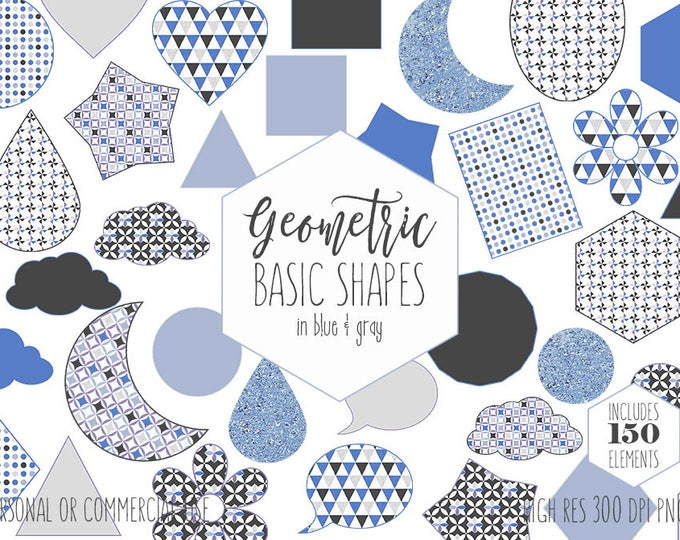 BLUE GEOMETRIC SHAPES Clipart for Commercial Use Planner Sticker Clip Art Gray Circles Hexagons Triangles Stars Moons Kids Digital Graphics