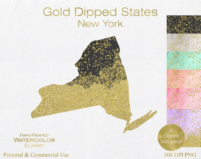 WATERCOLOR & GOLD New York Clipart Commercial Use Clipart United States Shape Wedding Clipart Gold Confetti Dust New York Clip Art Graphics