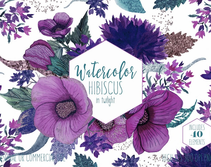 PURPLE HIBISCUS FLOWER ClipArt Commercial Use Clip Art Tropical Hawaii Watercolor Floral Wreaths Rose Gold Chic Wedding Invitation Graphics