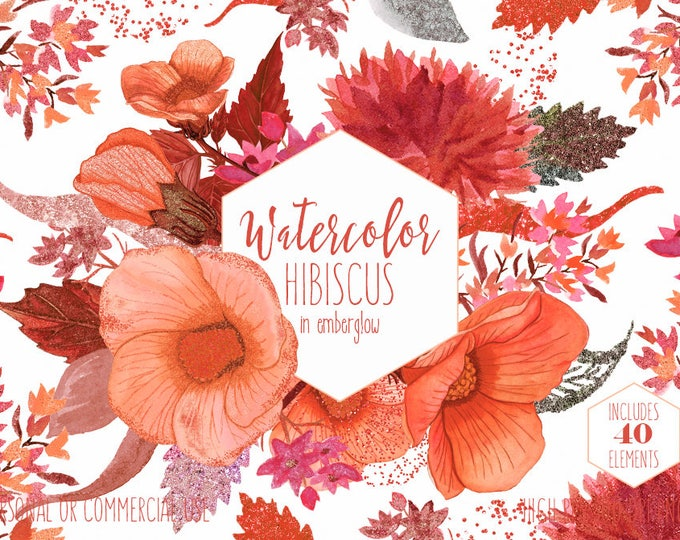 HIBISCUS WATERCOLOR FLORAL Clipart Commercial Use Clip Art Peach Rust & Coral Tropical Hawaiian Flower Wreaths Metallic Confetti Graphics