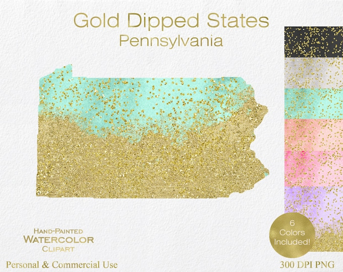 WATERCOLOR & GOLD PENNSYLVANIA Clipart Commercial Use Clipart United States Shapes Wedding Clipart Gold Confetti Dust Pennsylvania Clip Art
