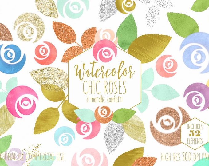 WATERCOLOR FLORAL Clipart Commercial Use Clip Art Watercolour Roses Metallic Gold Foil Confetti Flowers Floral Wedding Invitation Graphics