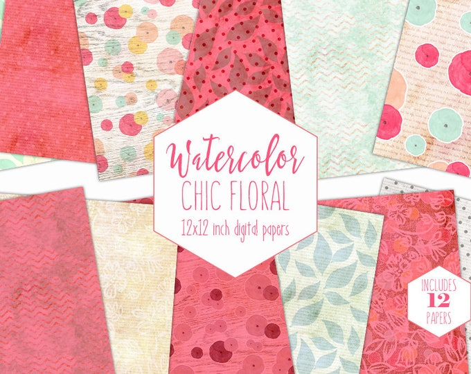 MODERN WATERCOLOR FLORAL Digital Paper Pack Commercial Use Pink & Mint Backgrounds Peach Flower Scrapbook Paper Shabby Chic Wood Patterns