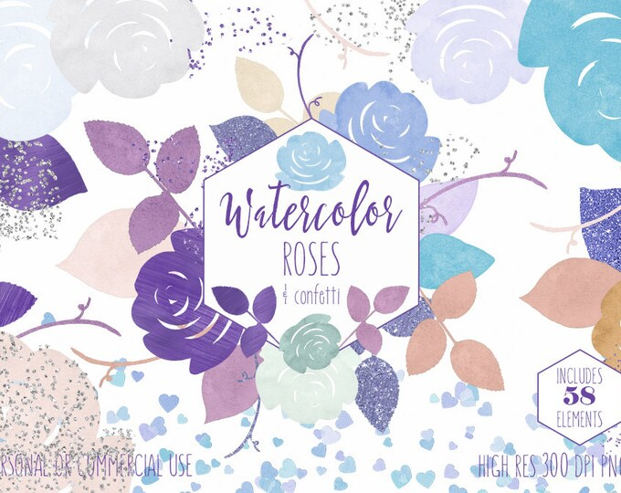 PURPLE WATERCOLOR FLORAL Clipart Commercial Use Clip Art 58 Watercolour Roses Mint Blue Wedding Clipart Heart Confetti Invitation Graphics